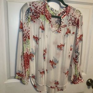 Lucky Brand Floral Boho Printed Blouse